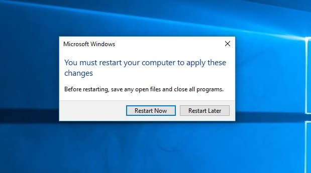 Restart to apply changes