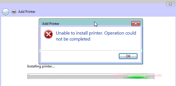 Fix Unable to install Printer Operation could not be completed