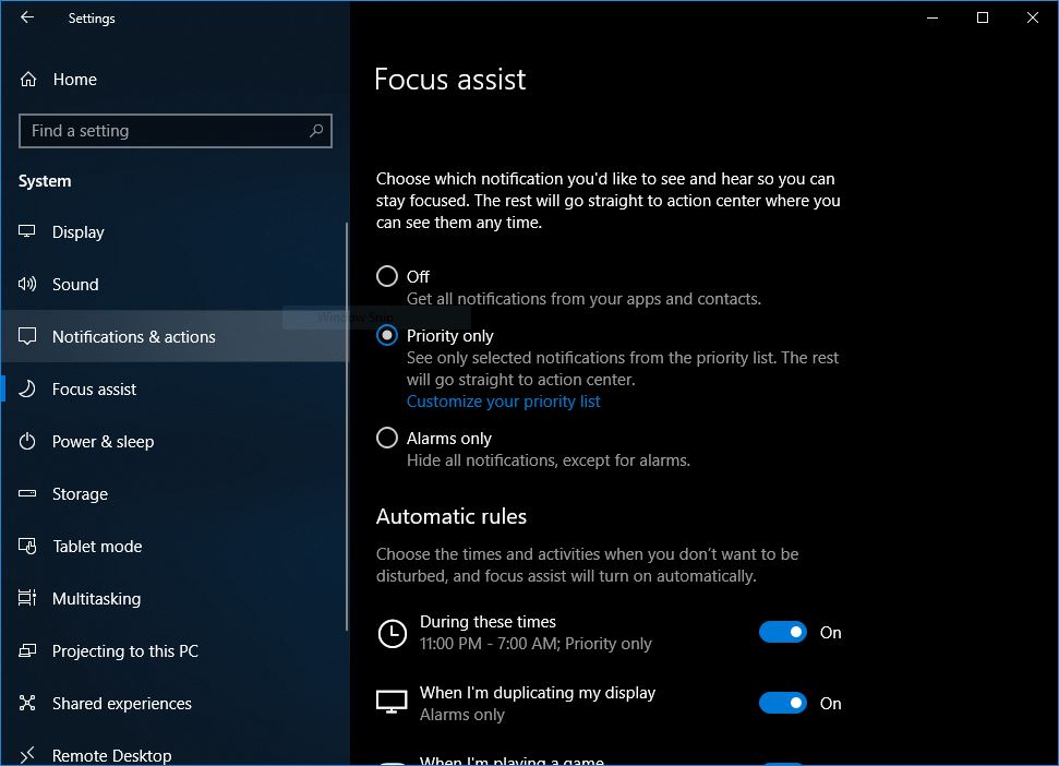 How to enable Focus Assist