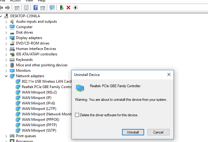 Ethernet doesn't have a valid IP configuration (Unidentified Network