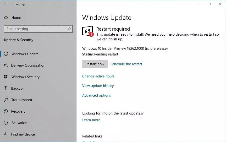 Windows 10 19H1 Preview Build 18262 1000 (rs_prerelease) Released