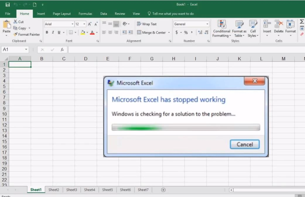 microsoft excel not working